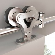 TOP MOUNT DUAL WHEEL Stainless Steel Door Hardware  Kit for WOOD Door