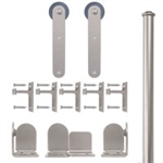 Rolling Door Stick Hardware Long Bracket Kit- Satin Nickel