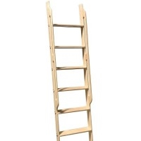 Walnut 20 in WIDE Ladder, 10 ft. with Integrated Handrails, Unassembled, Unfinished