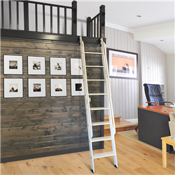 Walnut Loft Ladder up to 9 ft. for 16 in. Wide Ladder for use with Stationary Non-Skid Hardware